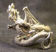 Very Cool Sterling Silver Detailed Dragon Wrap Around Tail Sz 5 Ring