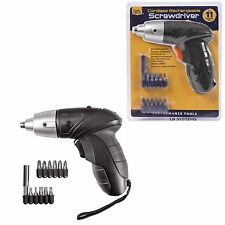 Cordless Rechargeable Screwdriver 11 Screw Bit + UK Mains Charger TOOL TECH