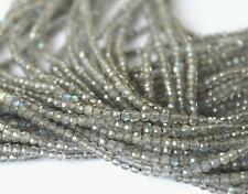 """13"""" STRAND NATURAL LABRADORITE BEADS FINE CUT FACETED ROUND 2 MM 1 LINE #D3801"""