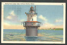 DATED 1952 PPC PORTLAND ME LIGHTHOUSE AT SPRING POINT LEDGE