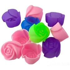 8pcs  Muffin Chocolate Rose Flower Cup Cake Mold Cookie Silicone Baking Mould