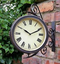 Outdoor Garden wall Station Clock & Temperature with Bracket, swivels 31.5cm