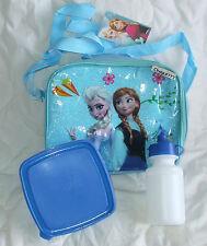 NEW Frozen Lunch Box Bag Sandwich Meal Box Water Bottle Anna Elsa blue 3 pc set