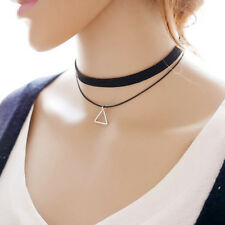 New 90's Black Velvet Choker Triangle Pendant Necklace Gothic Grunge Retro Chain