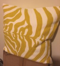"NEW Pottery Barn Yellow & White Zebra Crewel Embroidered Pillow Cover 18"" SQ"