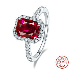 lingmei Ruby & White Topaz 100% 925 Solid Sterling Gemstone Silver Rings Size 7
