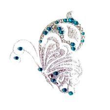 Crystal Body Art Back Sticker Funky Butterfly Design in Blue 8 x 7 cm (013)