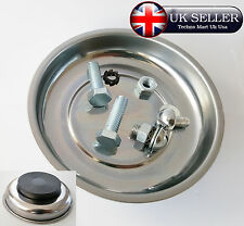 """Magnetic Parts Bolts Holder Tray 4"""" Dish Round Tools Stainless Steel Organizer"""
