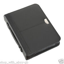BONDED LEATHER A4 CONFERENCE FOLDER WITH RING BINDER / PORTFOLIO ZIPPED