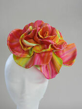 Stunning Hand Made Rainbow Flower Fascinator - Pink, Green, Yellow