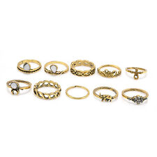 10pcs Women Punk Vintage Knuckle Rings Tribal Ethnic Hippie Stone Joint Ring Set