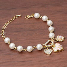 Women Trendy Jewelry Pearl Love Heart Flower Crystal Rhinestone Bracelet Bangle
