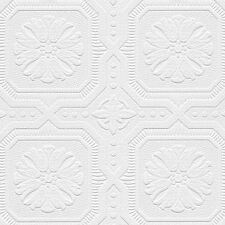 Octagonal Medallion Tiles Paintable Wallpaper 48928  per Double Roll