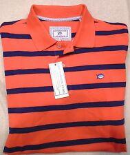 Southern Tide Cotton Blend Skipjack Orange Blue Striped Polo Shirt NWT XL $85
