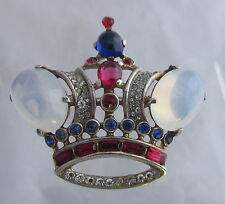 Vintage Trifari Philippe Sterling Moonstone Cabochons Figural Large Crown Pin