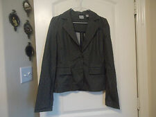 Old Navy Size S Striped Stretch Suit Jacket Blazer Black, Brown White One Button
