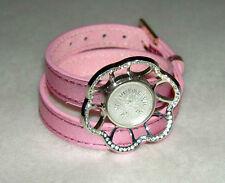 LALIQUE Pink Foil Leather Double Wrap CHARDON Crystal Rhinestone Charm Bracelet