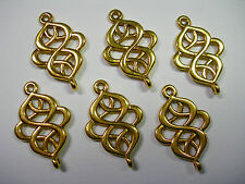 Gold color swirled drops, loops, connectors, links, 6  - 28mm