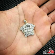 Mens 14k Gold Finish .925 Silver Head Face Pendant Charm Hip Hop Iced Out