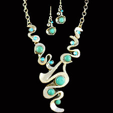 Retro Look Tibet Silver Cascade Pendant Necklace Earring Turquoise Jewelry Set