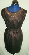 GOTH/PUNK/STEAMPUNK black faux leather dress.brass bead embellishment & pockets.