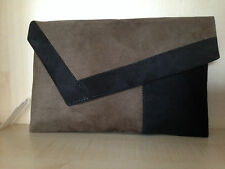 OVERSIZED brown & black faux Suede  clutch bag fully lined BN made in UK