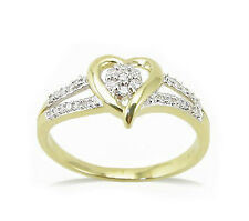 Pretty! 100% 10K Yellow Gold Heart Shaped Diamond Cluster Split Band Ring  .12ct
