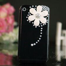 Apple iPhone 4 4S Hard Case Cover Hülle Etui Perlen Steine 3D Blume Schwarz Weiß
