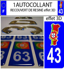 2 stickers plaque immatriculation auto DOMING 3D RESINE CARTE PORTUGAL DEPA 43