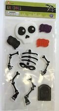 New !  Halloween Dancing Skeleton Boo Window Gel Stickers Cling Decor Fall