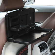 Car Seat Back Food Tray Folding Dining Table Drink Cup Holder ABS Black Pallet