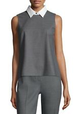 $225 NWT THEORY AUDRESSA CLASSY WOOL TOP SLEEVELESS  W/ DETACHABLE COLLAR M GREY