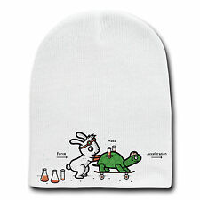 Using Force Funny Bunny Rabbit & Turtle Physics Humor Beanie Skull Cap Hat New