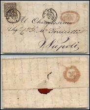 PONTIFICIO - 5 bai(6b) inchiostro grigio oleoso - Lettera Roma- Napoli 30.7.1855
