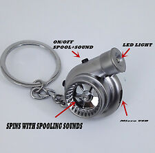 Metal Silver Rechargeable turbo keyring keychain with LED light and BOV sound