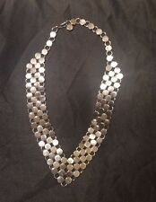 Vintage Castlecliff Modernist Signed Silver Plated Paillette Chainmail Necklace