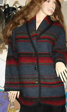 Woolrich USA sz XL womans tribal indian wool saddle blanket coat jacket blue red