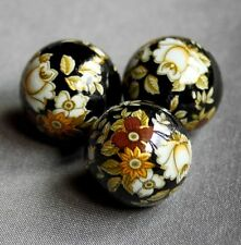17mm Japanese Tensha beads with floral pattern BLACK - 4 pcs