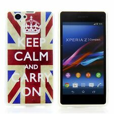 Sony Xperia Z1 Compact Silikon Case Schutz Hülle Etui UK Keep Calm Carry On