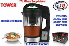 Tower Glass Soup Maker 1.6L Blender Chunky Smooth Baby Simmer Food Puree Cooker