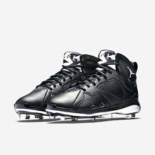 NIKE SZ 11.5 AIR JORDAN 7 RETRO METAL BASEBALL SHOE 684943-010 BLACK/WHITE OREO