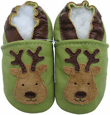 carozoo reindeer green 2-3y new soft sole leather toddler shoes