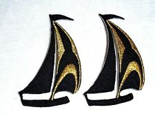 Lot of 2 Black & Gold SAILBOAT Nautical Marina Boat Iron On Embroidered Patch
