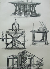ANTIQUE PRINT DATED C1880S ENGRAVING WOOD MACHINERY KINDER'S SHAPING MACHINE
