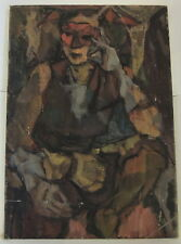 Original 20th cent Cubist Original Oil Painting OLD canvas evokes Pablo Picasso