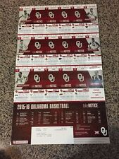 2015-16 OKLAHOMA SOONERS COLLEGE BASKETBALL TICKET SHEET STRIP STUBS BUDDY HIELD