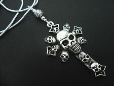 "A LOVELY TIBETAN SILVER  SKULL CROSS NECKLACE ON 18"" SNAKE CHAIN. NEW."