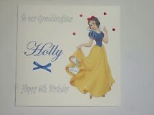 HANDMADE PERSONALISED DISNEY PRINCESS  SNOW WHITE  BIRTHDAY CARD