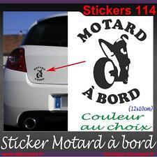 Sticker autocollant Motard à bord - Honda Yamaha Suzuki Kawasaki Moto - 114