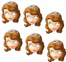6 x Princess Sofia The First Birthday Party Face Masks Loot Favor Bag Fillers